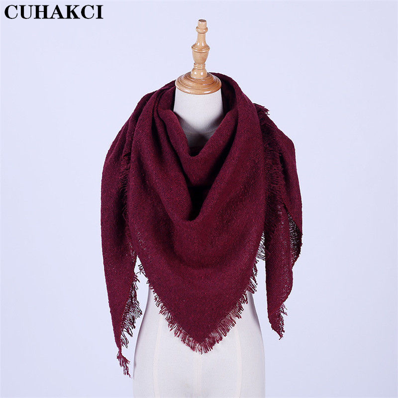 CUHAKCI Winter New Hoop Gauze Scarf Women High Quality Triangle Fashion Scarves Ladies Thick Warm Shawl With Tassel