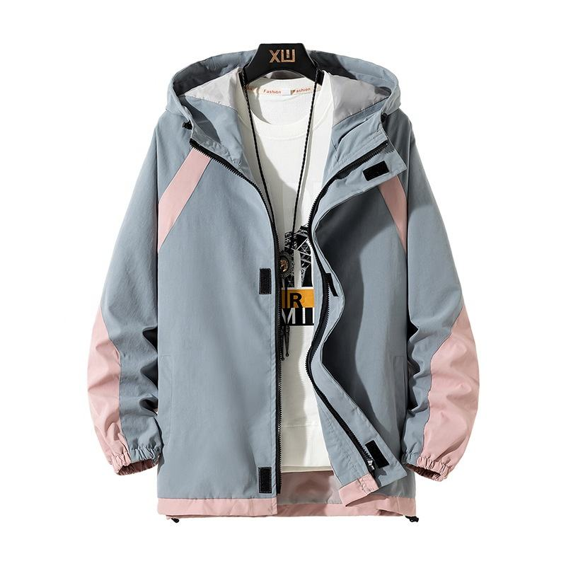 hot selling fashion color contrast Korea style parka Hoodie Men's coat