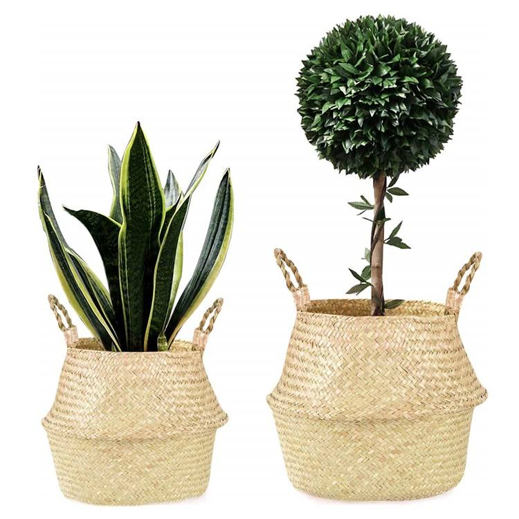 Tote Laundry Picnic Beach Grocery Pot Cover Indoor Home Foldable Woven Natural Seagrass Belly Handles Storage Rope Plant Basket