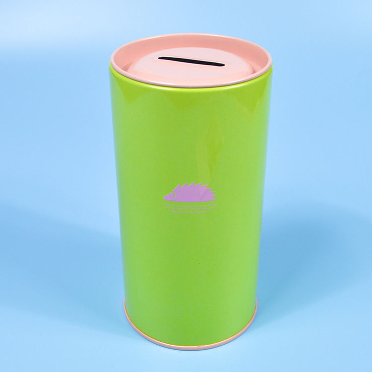 Hot Sale Metal Cylinder Packaging Money Saving Tin Coin Box