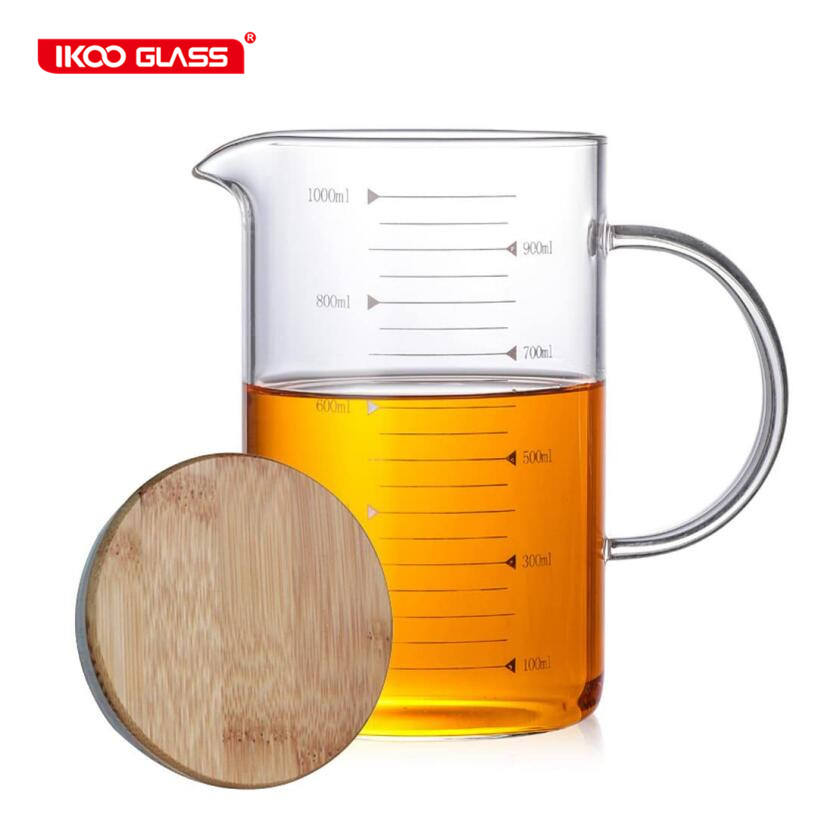 high borosilicate measuring jug glass measuring cup with bamboo lid