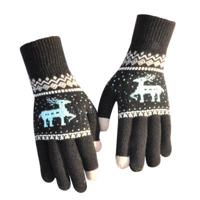 E771 Women Winter Warm Fingerless Glove Mittens Wool Knitted Glove Elk Motorcycle Cycling Christmas Touch Screen Gloves