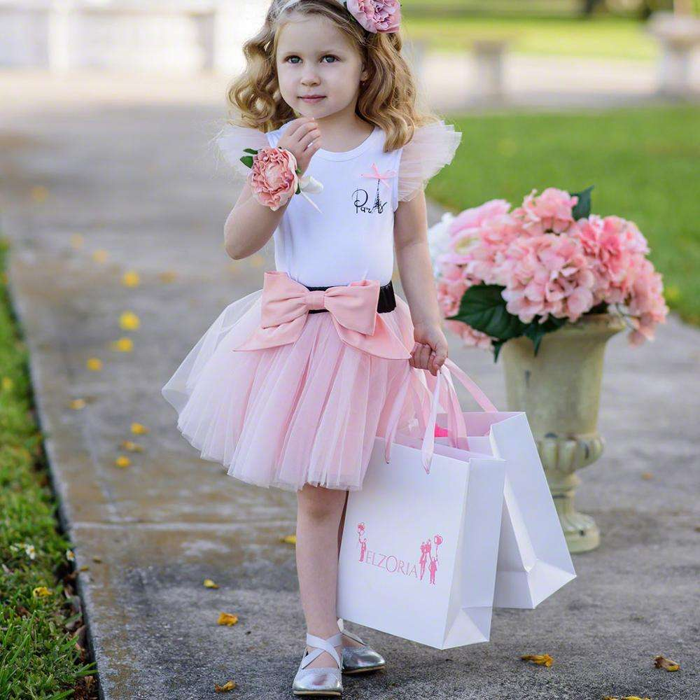 2021spring little kids summer tutu tulle mini baby girl's skirts with bow