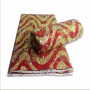 Factory outlet 6 yards african holland cotton fabric with sequence embroidery red golden super printed fabric on sales