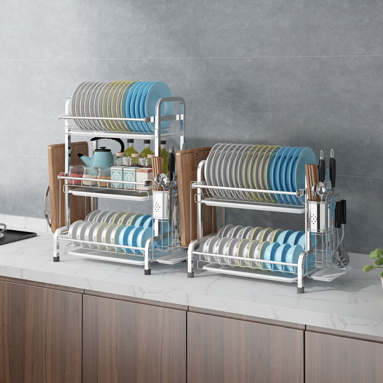 Storage Holders Shelves 3 Layer Drainer Cutlery Kitchen Dish Rack
