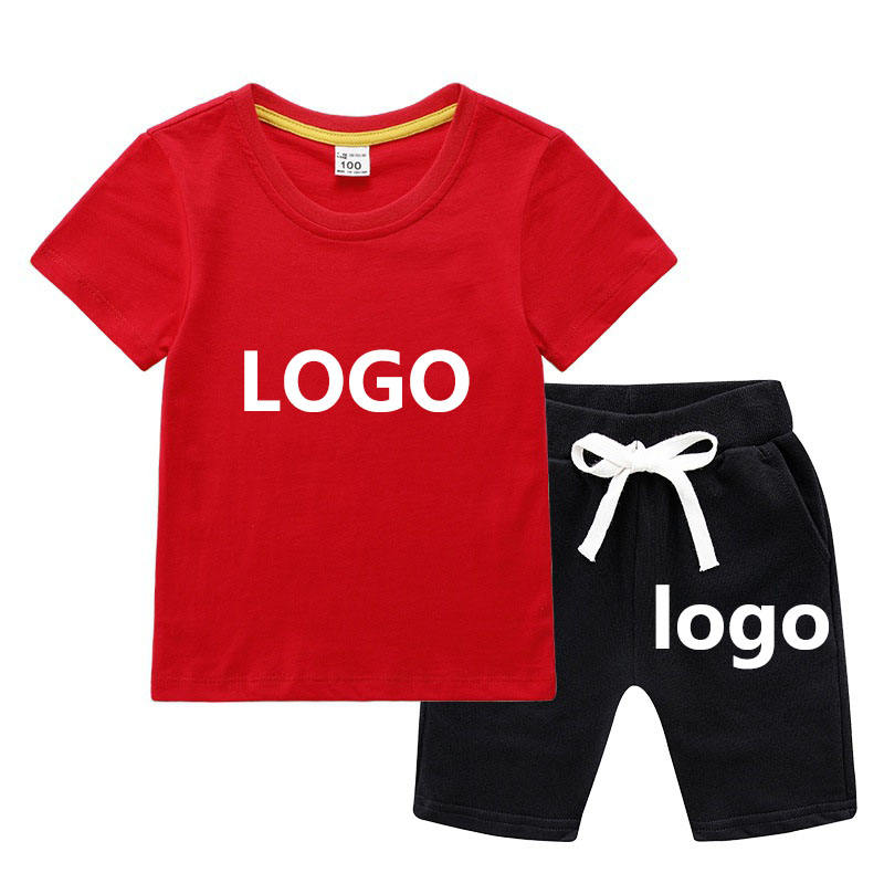 Custom logo Boy Clothes Set High quality summer short sleeves T-Shirt+shorts Kids Clothing Sets baby boys' clothing sets