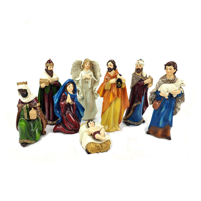 Resin Nativity Figure Set Three Kings Gifts 8PC The Real Life Nativity, 6-Inch