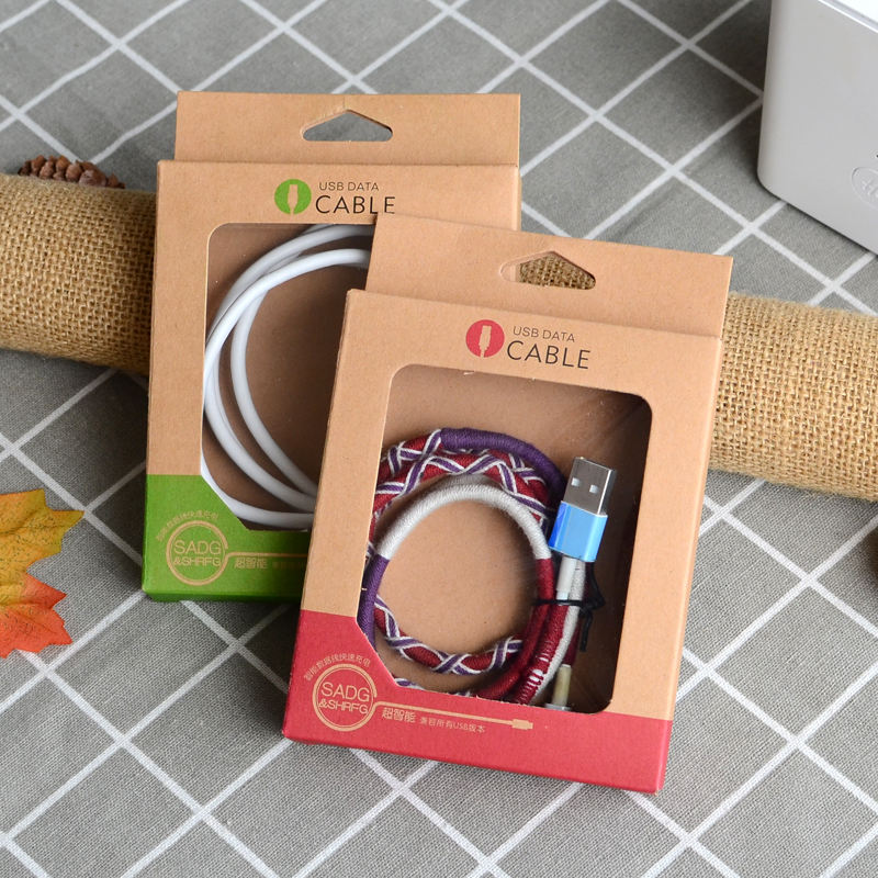 Ready to ship recycled kraft paper material 1.5M cable packaging usb cable line box cable package