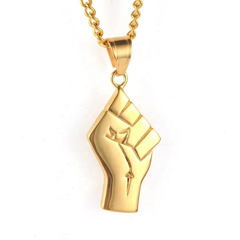 Inspire Stainless Steel Jewelry 18k Gold Plated Black Lives Matter Resist Fist Pendant Power Solidarity Necklace