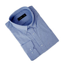 OEM Men Long Sleeve Egyptian Cotton Solid Blue Oxford Formal Shirt For Business Man
