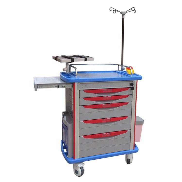 BR-ET001B ABS plastic top board 4 aluminum columns 5 drawers 4 noiseless castors medical emergency trolley