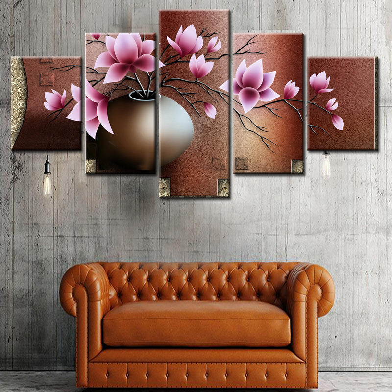 Art Wall Picture Flower 5 Panel Canvas Abstract Modern Decoration Decor Custom Print Artist Oil Painting