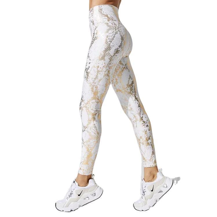 OEM 2020 Snake Printed Leggings Shiny High Waist Yoga Gym Workout Leggings For Women