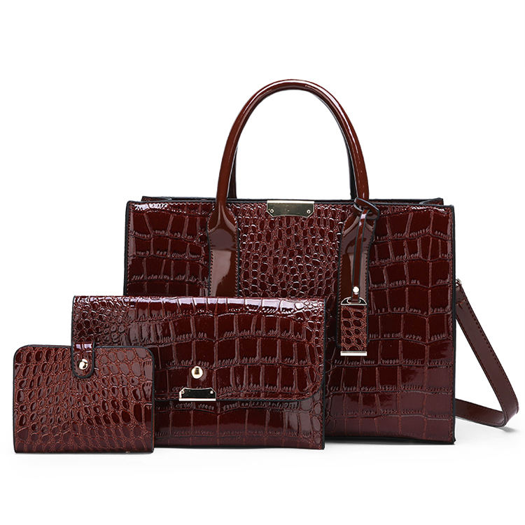 Trendy women leather bag set, ladies bags handbag wholesale in china