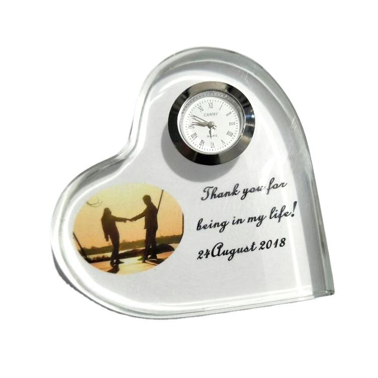 2020 Wholesale k9 crystal clock souvenirs gift Personalized Custom laser Engraved crystal photo frame For Wedding Gifts