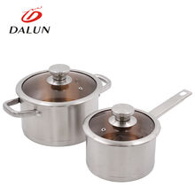 Wholesales portable outdoor camping edible stainless steel 16cm 20cm pan pot cookware set