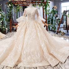 Jancember HTL681 O Neck Full Sleeve Puff  Long Ball Gown Beaded Wedding Dresses Vestidos De Novia Wedding Gowns Plus Size