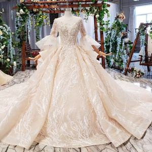 Jancember HTL681 O Neck Full Sleeve Puff Long Ball Gown Beaded Wedding Dresses Vestidos De Novia Wedding Gowns Plus Size