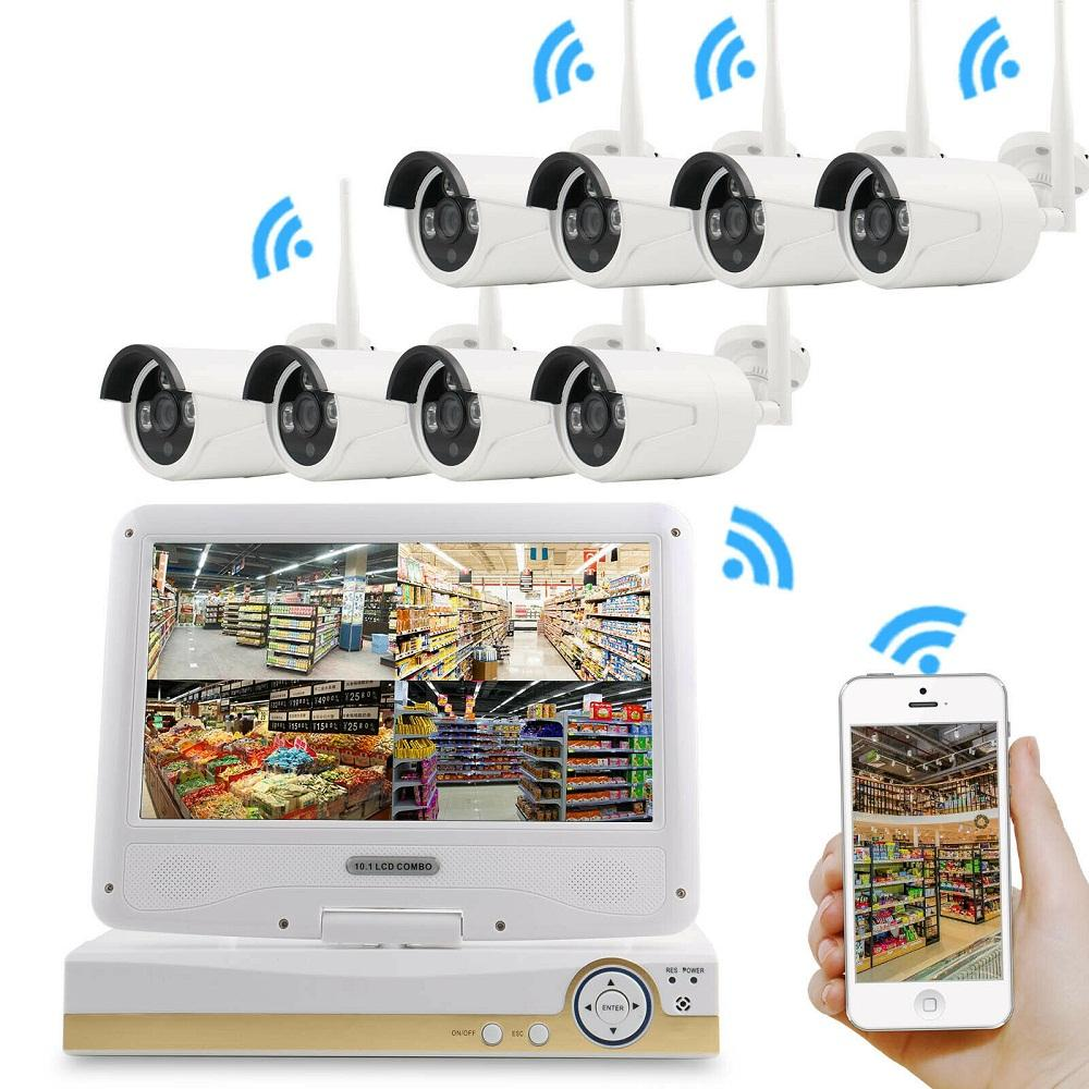 1080P 8CH wireless cctv bullet NVR kit cctv Camera with LCD screen For home CCTV system