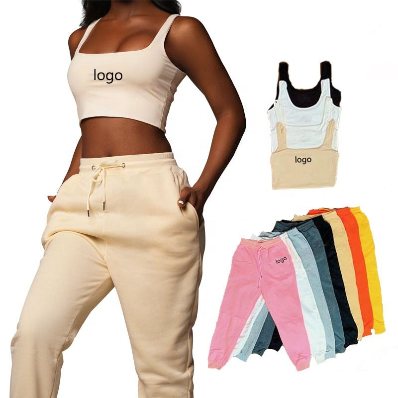 2020 custom logo knit two piece set women clothing jogger pants with pockets and crop top vest set fall clothing for women