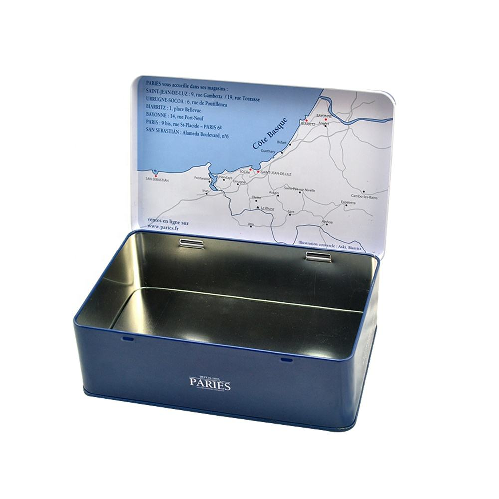 Wholesale large metal boxes hinged tins box with hinged lids