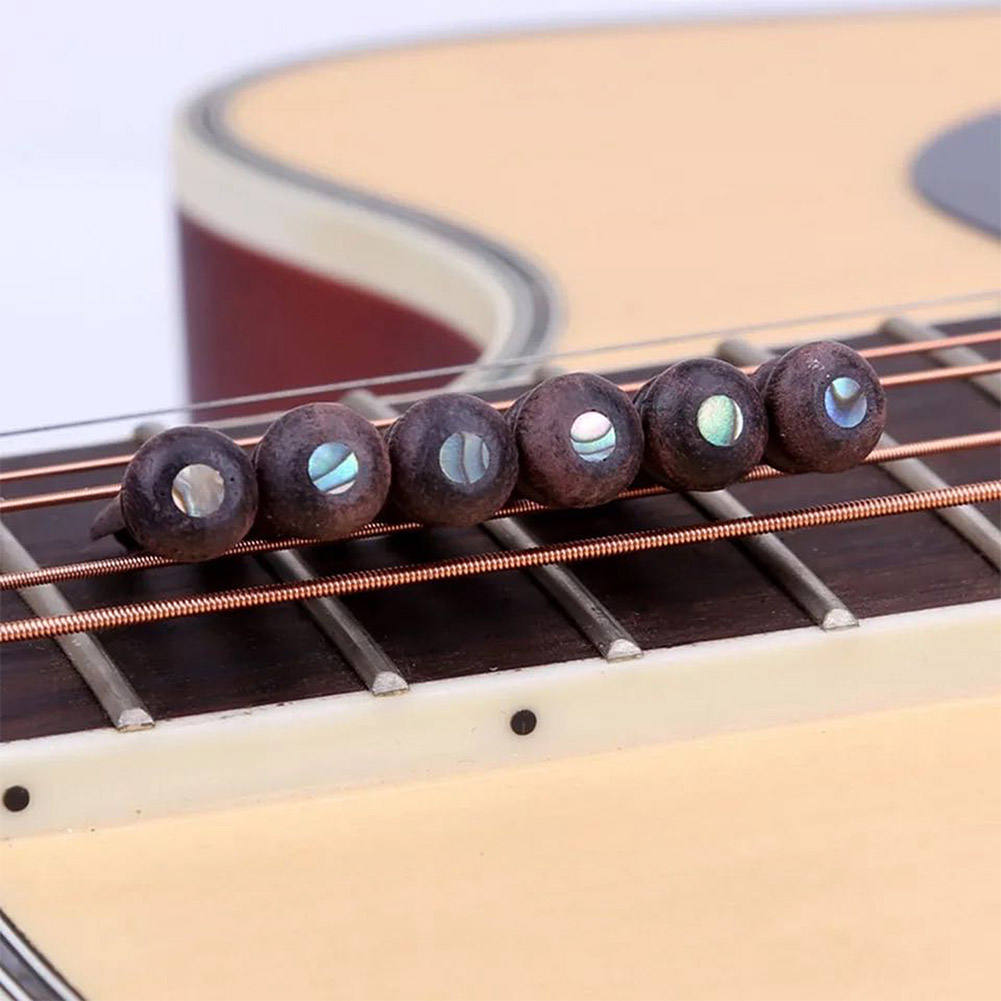 6PCS Wood Guitar Pins Rosewood Strings Pegs Slotted Endpoint with Abalone Dot Acoustic Guitar Bridge Parts Replacement & Access
