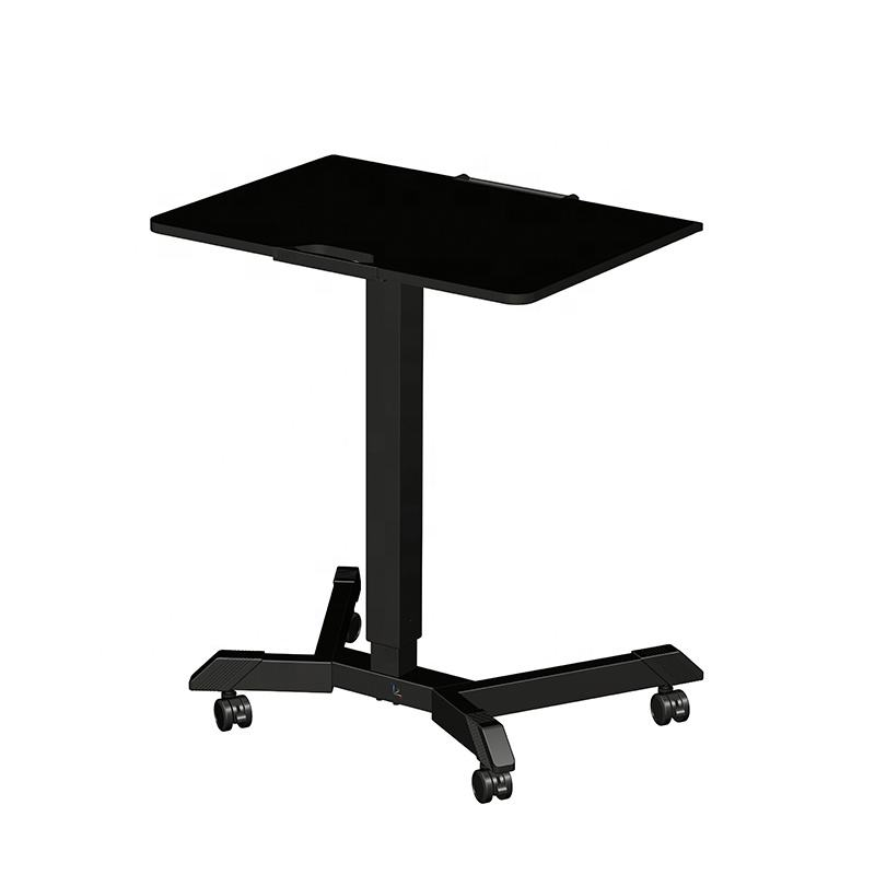 Mobile Height Adjustable Table Pneumatic Desk, Gas Spring Single Column Sit Stand Table with Wheels