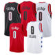 Damian Lillard Basketball Embroidered #0 Men's Damian Lillard Red Basketball Jersey/ Uniform