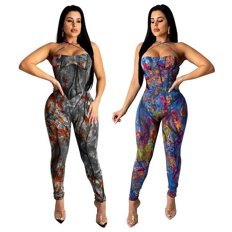 04026NB Wholesale ladies graffiti print sexy bodycon jean jump suit basic bodysuits women denim one piece jumpsuits and rompers