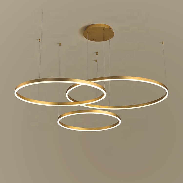 Hotel lobby living room cheap nordic modern gold hanging lamps high lumen round led pendant light acrylic chandelier