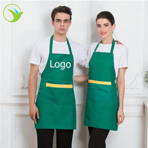 Promotion cheap polyester cotton durable waterproof kitchen apron with print logo custom