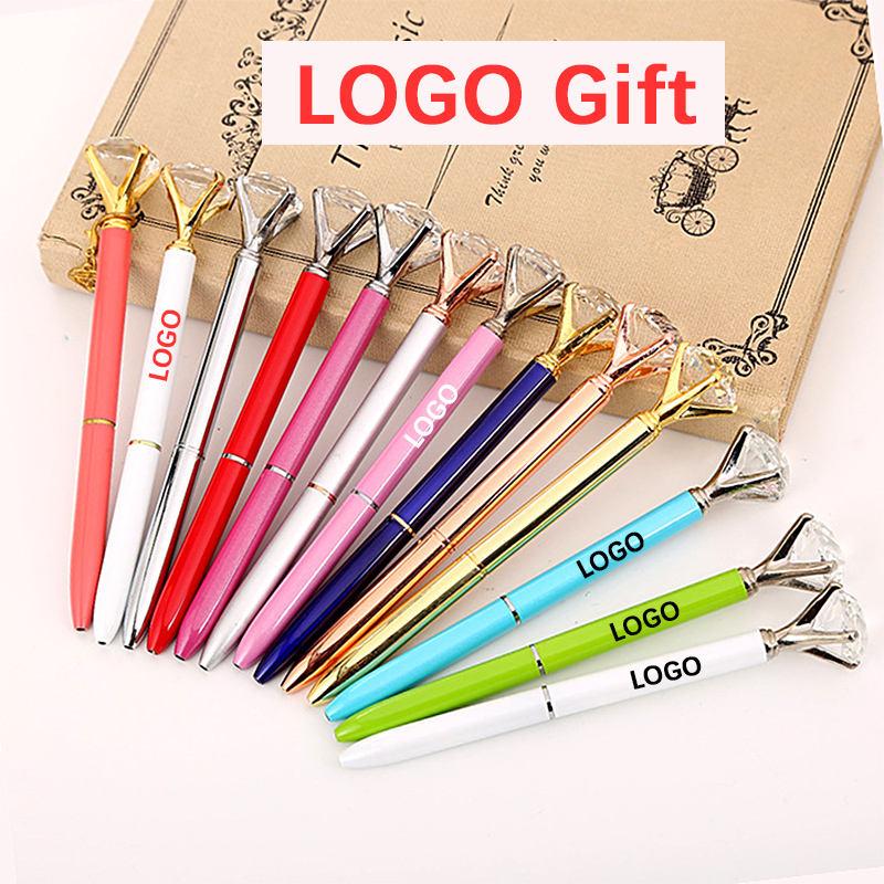 Big Diamond Ballpoint Pen Metal Pens Gem Pen Student School Office Supplies Gift