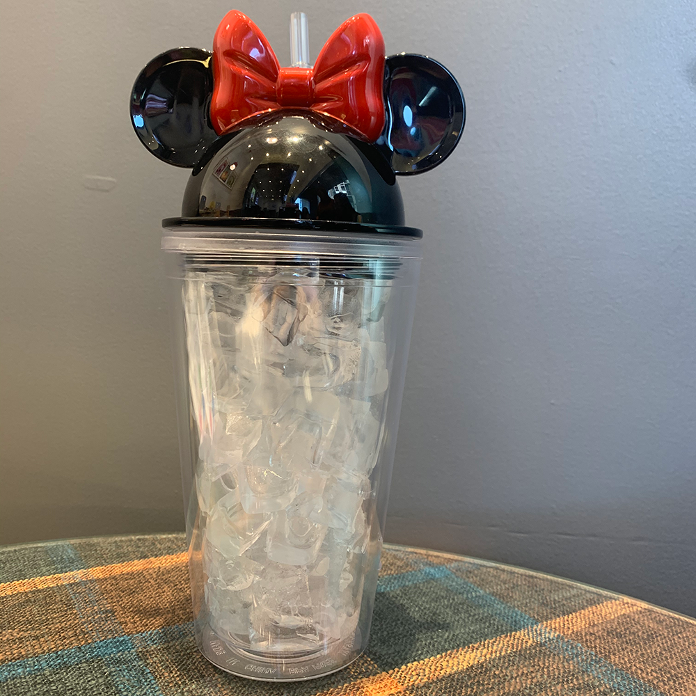 16 oz Wholesale Minnie Mouse Ear Shaped Plastic Tumbler Double Walled Low Price Plastic Cup