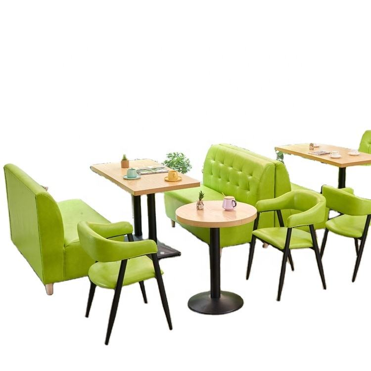Green cafe shop two seat booth sofa chair