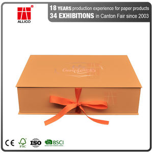 ALLICO Wholesale Custom Luxury Cardboard Gift Box Satin Lined Hair Bow Wig Hair Packaging Boxes With Ribbon Closures
