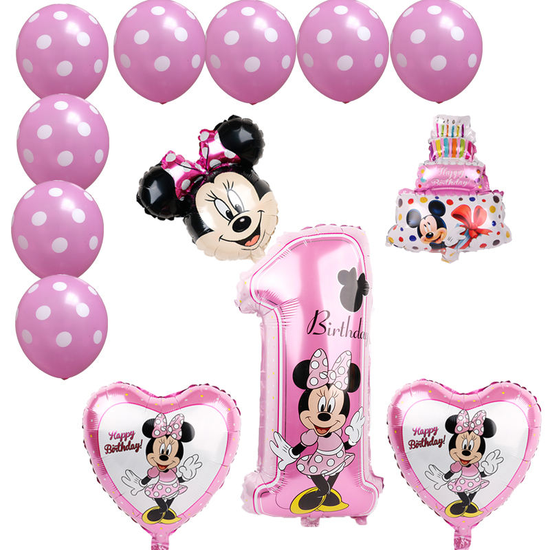 Mickey minnie foil balloons 1st birthday party decorations kids ballon number 1 globos dot latex Children's toy baby shower