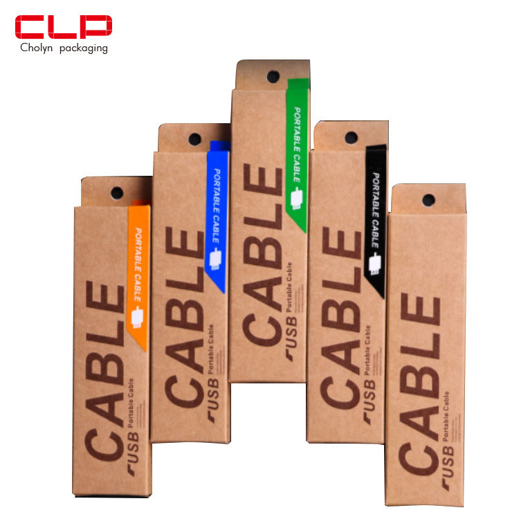 Custom logo Mobile Phone Charger USB Packing empty usb cable brown paper packaging box with euro hook hanger
