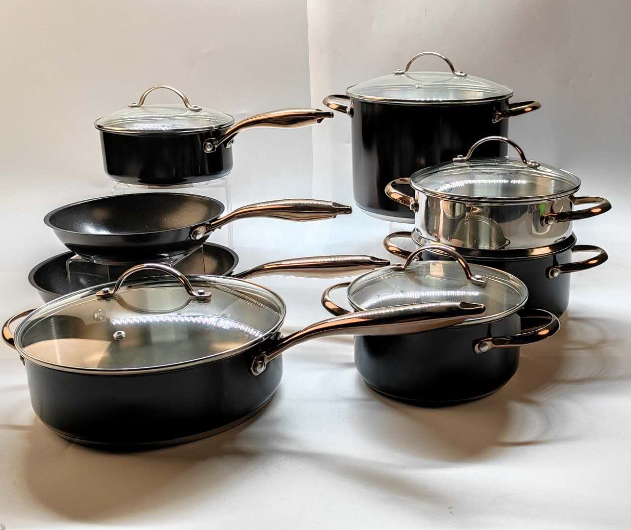 Stainless steel 304 PVD copper handle induction nonstick cookware sets 13pcs