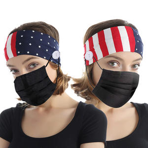 US Flag Pattern Sport Workout Hair Wraps Elastic Headbands With Buttons for Nurse