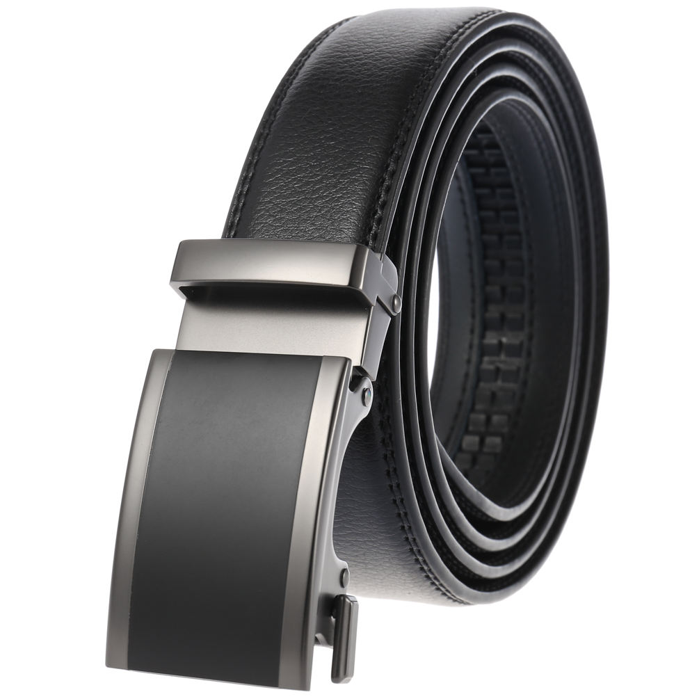 Genuine Leather Men`s Unique Automatic Buckle Belt LY33-22055-1