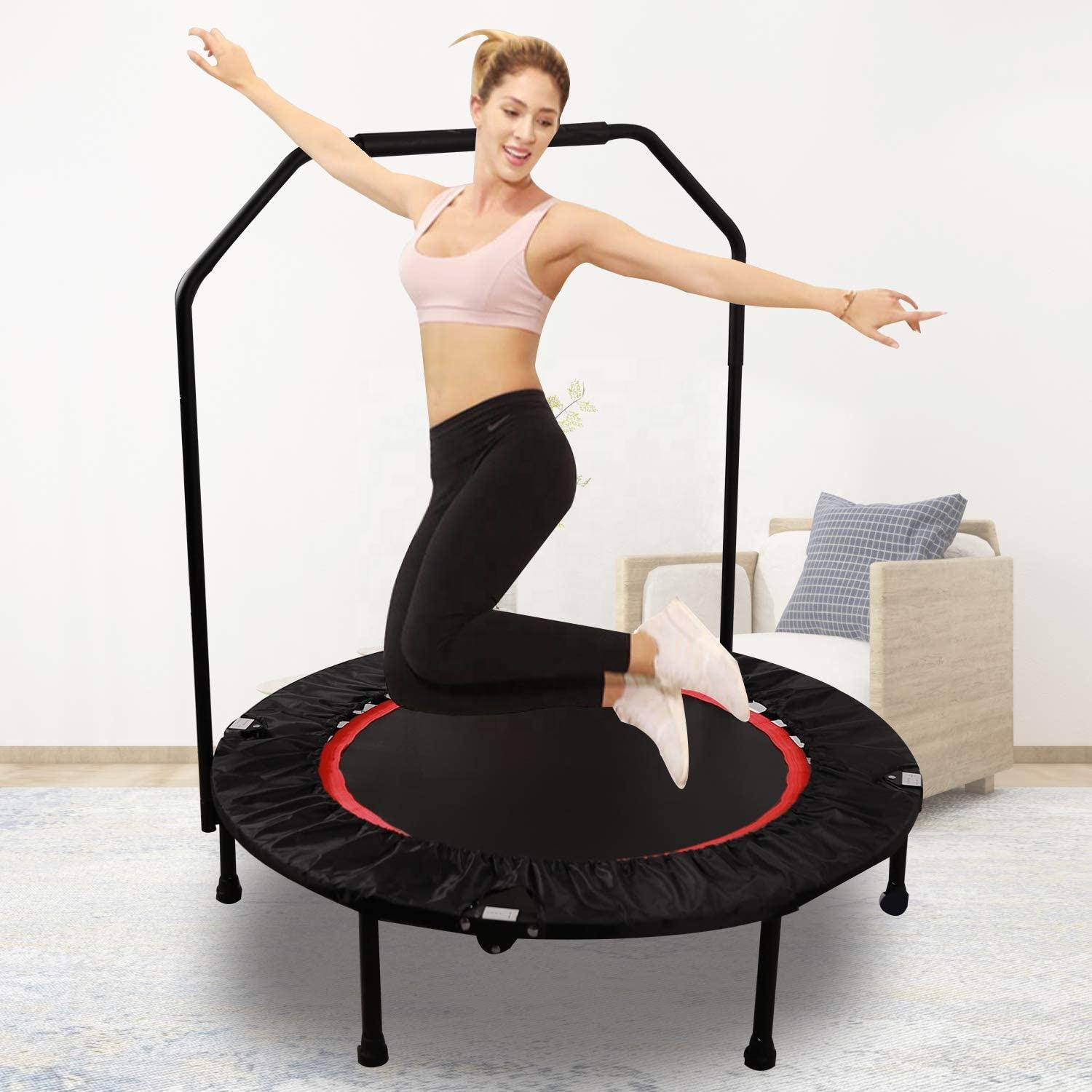 Foldable 100cm Mini Trampoline Rebounder for School Gym Home Cardio