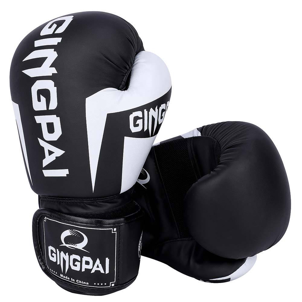High quality 16oz black color custom logo pu leather boxing gloves