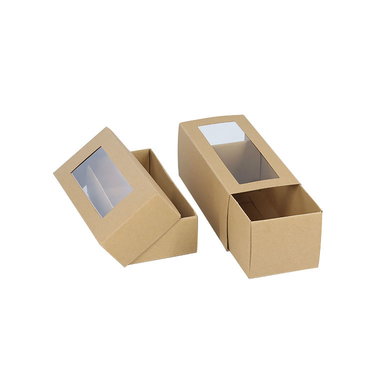 Wholesale Custom Small Kraft Cardboard Slide Open Box Cookie Biscuit Packaging Gift Paper Drawer Box with Window