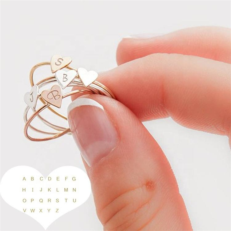 Personalized Hand 26 Letters Initial Heart shape Rings for Women Gold Color Finger Rings Jewelry Wholesale