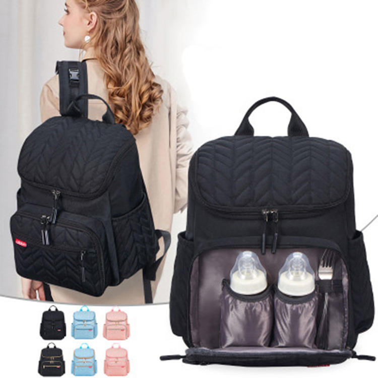 Wholesale multifunctional mummy dad fashion waterproof backpack tote designer adult baby diaper bag