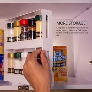 Multifunction kitchen cupboard wall mounted shelf rotating spice storage rack organizer