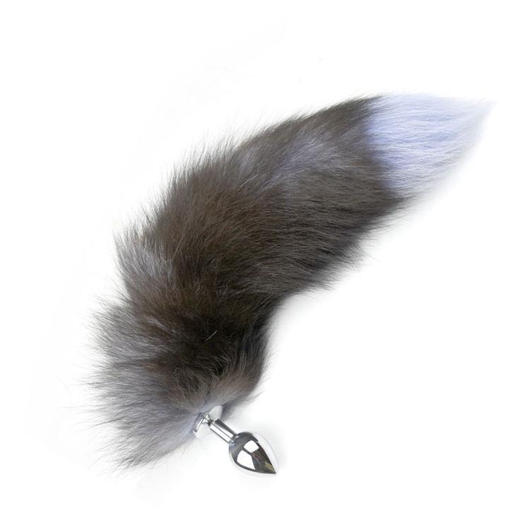 Из металла анальный штекер с серый волк Мех животных лисий хвост Анальная пробка для пара для женщин мужчин гей