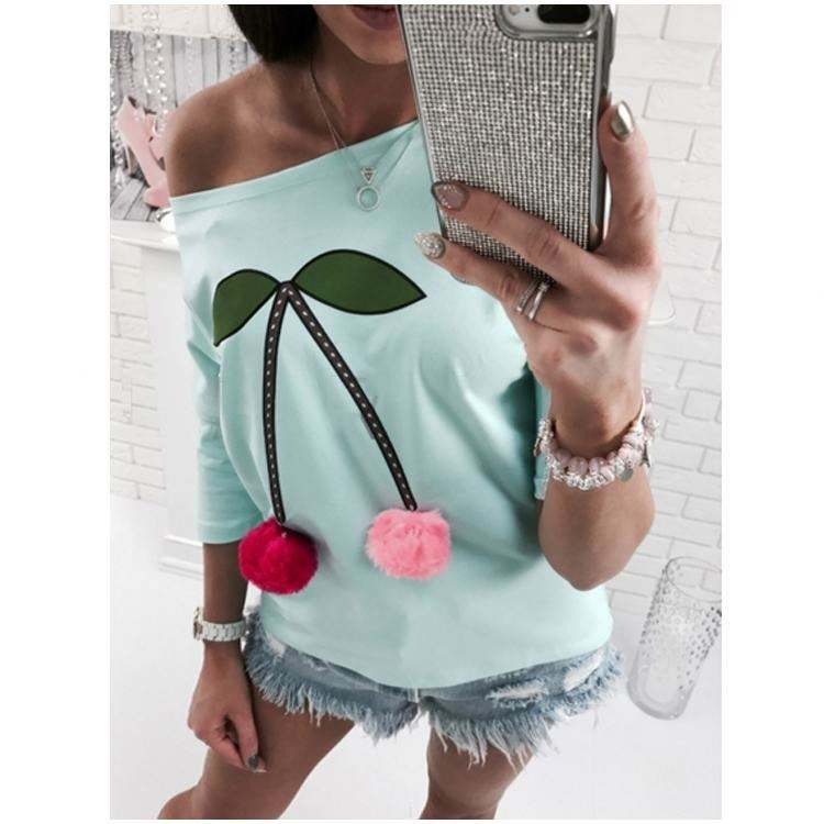 2019 Ladies Garment Young Fashion Slash Shoulder Print Lovely Shirt Casual Clothes