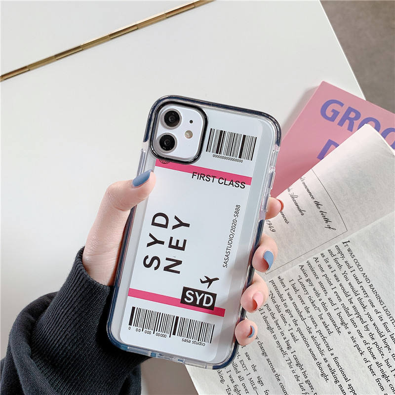 Air Plane Ticket Anti Knock Phone Case for iPhone 11 xs max,Bar Code Boarding Pass Shockproof Case New York for iphone 11