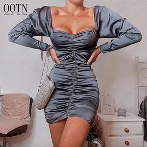 OOTN Summer Irregular Mini Dress Female Sexy Backless Low Cut Club Dress Long Sleeve Off Shoulder Ladies Evening Dresses